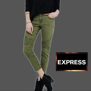 Express Mid-Rise Army Green Moto Leggings NWT Sz S